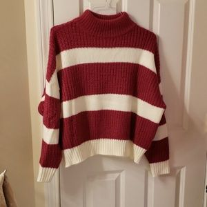 Sweaters - Knit sweater cream and magenta pink